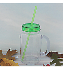 Clear 20 oz. Mason Jar with Apple Green Lid & Straw #WACD002BD-CL-AG