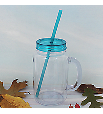 Clear 20 oz. Mason Jar with Aqua Lid & Straw #WACD002BD-CL-AQ