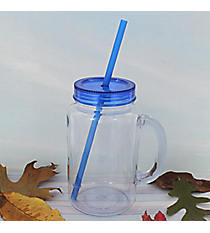 Clear 20 oz. Mason Jar with Blue Lid & Straw #WACD002BD-CL-BL