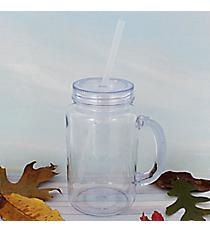 Clear 20 oz. Mason Jar with Clear Lid & Straw #WACD002BD-CL-CL
