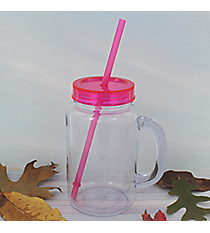 Clear 20 oz. Mason Jar with Magenta Lid & Straw #WACD002BD-CL-MG