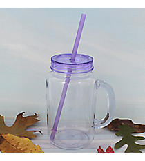 Clear 20 oz. Mason Jar with Purple Lid & Straw #WACD002BD-CL-PU