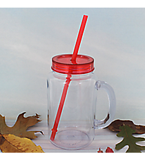 Clear 20 oz. Mason Jar with Red Lid & Straw #WACD002BD-CL-RD
