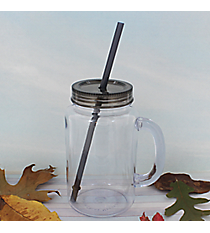 Clear 20 oz. Mason Jar with Smoke Lid & Straw #WACD002BD-CL-SK