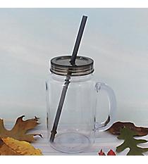 Clear 20 oz. Mason Jar with Smoke Lid & Straw #WACD002BD-CL-SK
