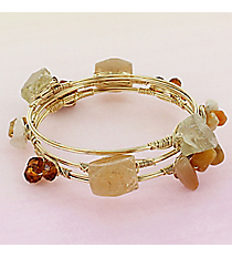 3 Piece Natural Bead and Stone Goldtone Wired Bangle Set #WB0860-GLNAT