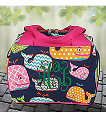 Whimsical Whale Insulated Bowler Style Lunch Bag with Hot Pink Trim #WHA255-HPINK
