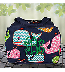 Whimsical Whale Insulated Bowler Style Lunch Bag with Navy Trim #WHA255-NAVY
