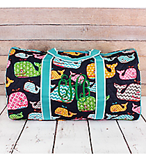 "Whimsical Whale Quilted Duffle Bag with Aqua Trim 21"" #WHA2626-AQUA"