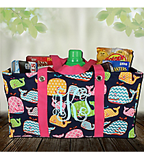 Whimsical Whale with Hot Pink Trim Collapsible Haul-It-All Basket #WHA401-HPINK