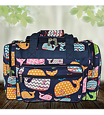 "17"" Whimsical Whale Duffle Bag with Navy Trim #WHA417-NAVY"