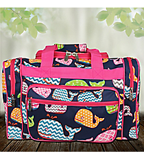 "17"" Whimsical Whale Duffle Bag with Hot Pink Trim #WHA417-HPINK"