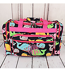 """Whimsical Whale Duffle Bag with Hot Pink Trim 20"""" #WHA420-HPINK"""