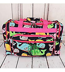 "Whimsical Whale Duffle Bag with Hot Pink Trim 20"" #WHA420-HPINK"