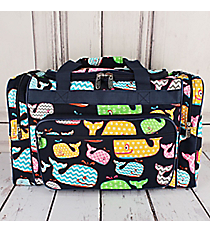 "Whimsical Whale Duffle Bag with Navy Trim 20"" #WHA420-NAVY"