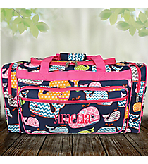 "23"" Whimsical Whale Duffle Bag with Hot Pink Trim #WHA423-HPINK"