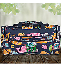 "23"" Whimsical Whale Duffle Bag with Navy Trim #WHA423-NAVY"