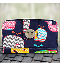 Whimsical Whale with Navy Trim Quilted Organizer Clutch Wallet #WHA517-NAVY