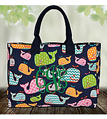 Whimsical Whale Wide Tote Bag with Navy Trim #WHA581-NAVY