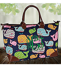 Whimsical Whale Large Tote Bag #WHA642-NAVY