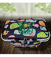Whimsical Whale Collapsible Insulated Market Basket with Lid #WHA658-NAVY
