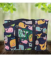 Whimsical Whale Organizer Tote with Navy Trim #WHA732-NAVY