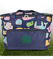 Whimsical Whale and Navy Cooler Tote with Lid #WHA89-NAVY