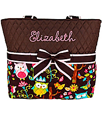 Quilted Owl Give a Hoot Diaper Bag With Brown #WQL2121-BROWN