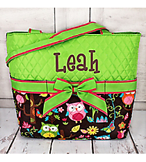 Quilted Owl Give a Hoot Diaper Bag With Lime #WQL2121-LIME