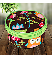 Owl Give a Hoot with Lime Trim Round Case #WQL583-LIME