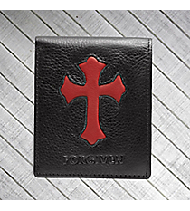 """Forgiven"" Black and Red Genuine Leather Bi-Fold Wallet #WT029"