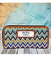 2 Corinthians 5:7 'Faith' Multi-Color Chevron Organizer Clutch Wallet #WT081