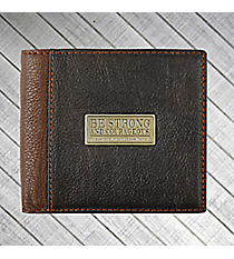 """Be Strong"" Two-Tone Genuine Leather Bi-Fold Wallet #WT118"