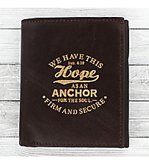 Hebrews 6:19 'Hope as an Anchor' Brown Genuine Leather Tri-Fold Wallet #WT121