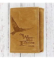 Isaiah 40:31 Tan Genuine Leather Tri-Fold Wallet #WT058