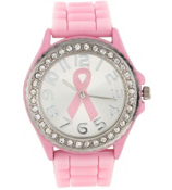 Pink Ribbon Jelly Watch with Crystal Surround #5573BC-LT.PINK/SILVER