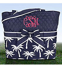 Navy Paradise Palms Quilted Diaper Bag #YAO2121-NAVY