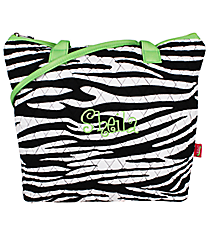 Quilted Zebra Shoulder Bag with Lime Trim #ZBRB1515-LIME