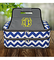 Royal Blue Chevron with Gray Trim Insulated Double Casserole Tote #ZC391-ROYAL