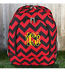 Red and Black Chevron Large Backpack #ZCM403-RED/BK