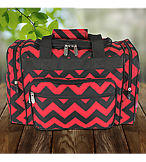 "17"" Red and Black Chevron Duffle Bag #ZCM417-RED/BK"