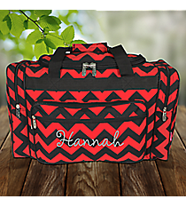 "20"" Red and Black Chevron Duffle Bag #ZCM420-RED/BK"