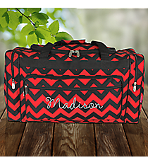 """23"""" Red and Black Chevron Duffle Bag #ZCM423-RED/BK"""