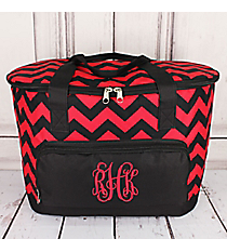 Red and Black Chevron Cooler Tote with Lid #ZCM89-RED/BK