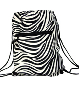 Zebra Print Drawstring Backpack #B6-2006