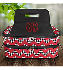 Houndstooth Chevron Insulated Double Casserole Tote with Black Trim #ZH391-BLACK
