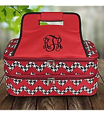 Houndstooth Chevron Insulated Double Casserole Tote with Burgundy Trim #ZH391-BURGUNDY