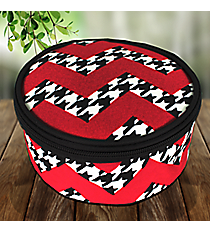 Houndstooth Chevron Round Case #ZH583-BLACK