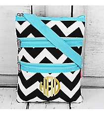 Black Chevron Crossbody Bag with Aqua Trim #ZIB231-AQUA