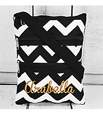 Black Chevron Crossbody Bag with Black Trim #ZIB231-BLACK